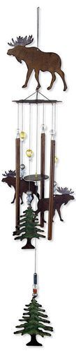 to hang on the porch if we ever build on. i will bring back memories of my grandmas back porch Moose Wind Chime Rustic Metal