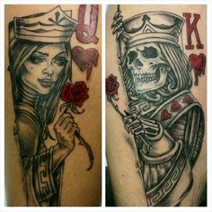 Couple Tattoo queen and king . couples tattoo tattoos by eddie davis Skull Couple Tattoo, Tattoos Skull, Rose Tattoos, Body Art Tattoos, Sleeve Tattoos, Tatoos, Best Couple Tattoos, Great Tattoos, Beautiful Tattoos