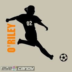Personalized Soccer Girl Wall Graphic Sticker by eyecandysigns, $25.99