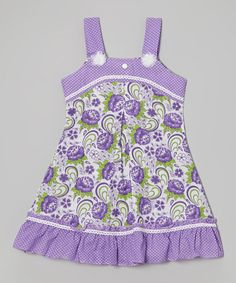 Another great find on #zulily! Purple & White Floral Pin Dot Ruffle Dress - Toddler & Girls #zulilyfinds
