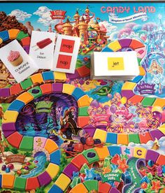 Candyland with CVC words! I've seen other versions for sale, and wanted to make my own - but then I found these, and they're LOVELY. I bought a Candyland game for $1.50 at the Goodwill, and can print these for next-to-nothing. Score!
