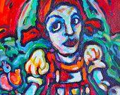 Bavarian Figurative Folk Acrylic Painting - Gallery Wrapped on Canvas - Heidi with Sheep
