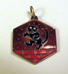 David Andersen Sterling Silver Enamel Pendant w Black Cat