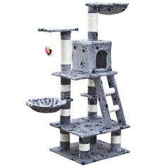 SKB Family Cat Tree Cuddles XL - Gray with Paw Prints Plush Carpeted Scratch Poles Carpeted Scratch Poles home sisal ropes ladder exercise on stuck indoors play-pole -- You can find out more details at the link of the image. (This is an affiliate link) Cat Scratching Tree, Cat Gym, Sisal Rope, Plush Carpet, Cat Scratcher, Curious Cat, Wood Dust, Cat Tree, Cat Furniture