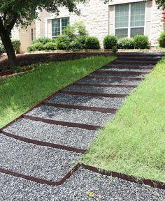 Landscape It - DIY Black Rock Stairs - basalt path - front yard landscaping
