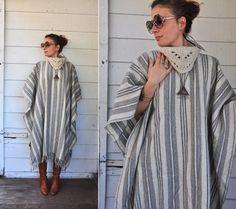 Vintage Turtleneck Poncho Cape Warm Stripes Wool by LaDeaDeiSogni, $155.00