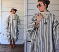 Vintage Turtleneck Poncho Cape Warm Stripes Wool by LaDeaDeiSogni, $155.00