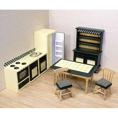 Kitchen Furniture  Price: $29.99  Retail Price: 29.99    Your kitchen decor will always be in good taste with this charming 7-piece country kitchen set. Designed with a tile topped table and plenty of counter space, the set includes appliances, a hutch and more! Handcrafted, wooden furniture with period de...Read More