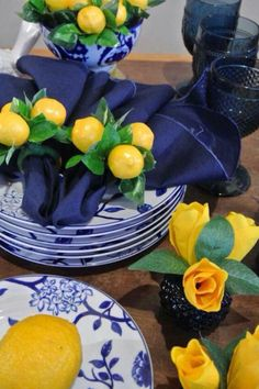 Blue and White Dishes with Lemon Accent ~