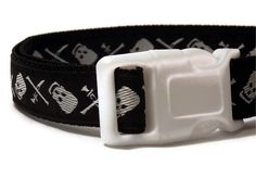 Dog Collar  Black and White Pirate Skulls  by FuzzyPawCreations, $13.26