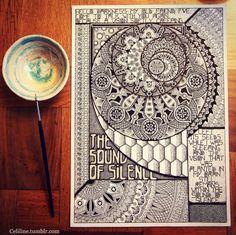 THE SOUND OF SILENCE Mandala, sacred geometry, zentangle, doodle, illustration, artpiece, drawing, art, ink, Rotring