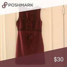 Burgundy embroidered tunic dress Only worn once! Perfect for events or holiday parties Abercrombie & Fitch Dresses Mini