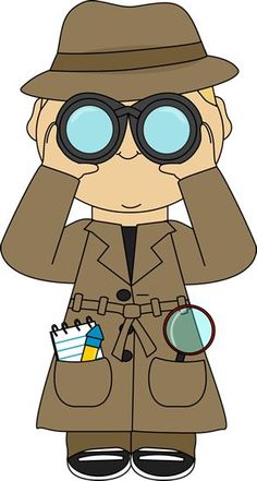 Detective with binoculars. This is the type of clothing our detective will wear… School Themes, Classroom Themes, Beginning Of School, Sunday School, Clipart, Detective Theme, Spy Party, Vacation Bible School, Bible Lessons