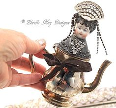 Tiny Teapot Art Doll Functional Teapot  Silver Shabby  Assemblage Art Doll  One-of-a-kind Mixed Media Sculpture