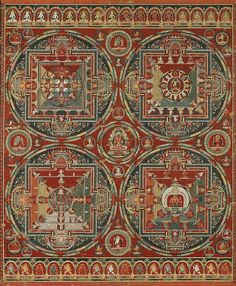 """A traditional Hindu mandala, like the """"Four Mandalas of the Vajravali Cycle"""" (circa Tibet) features a square with 4 T-shaped gates, which surrounds a circle with a point or object at the center. Modern usage of """"mandala"""" is much looser. Tibetan Mandala, Tibetan Buddhism, Buddhist Art, Mandala Painting, Mandala Art, Feng Shui, Mantra, Tibet Art, Google Art Project"""