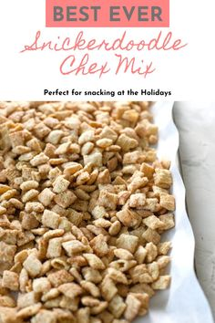 Snickerdoodle Chex Mix is basically snickerdoodle cookies in snack form! Rice cereal coated in white chocolate then tossed in cinnamon sugar, this recipe is a lightning-fast sweet snack to make for any occasion! Snickerdoodle Chex Mix was inspired by the taste of snickerdoodle cookies and the method to make puppy chow (muddy buddies). The results are addicting little morsels of crunchy sweet goodness. #Christmas #snack #sweet #kidfriendly Best Christmas Desserts, Winter Desserts, Fun Desserts, White Chocolate Chips, Melting Chocolate, Best Dessert Recipes, Snack Recipes, Snacks To Make, Rice Cereal
