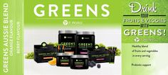 Hooked on energy drinks?   Try GREENS and you will find you don't need them.  Available in orange and berry flavour.
