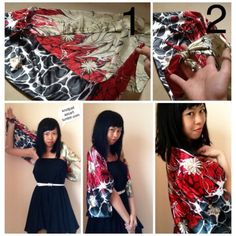 DIY NO SEW KIMONO: Tie two adjacent corners into a double knot, repeat for the remaining two corners, then slip your arms through the loops! Scarf Tying Tutorial, Side Curls, Head Scarf Tying, Woven Scarves, One Shoulder Tops, How To Wear Scarves, Diy Clothing, Tie Dress, Refashion