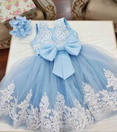 Girls baby blue party dress girls lace tulle dress girls luxury party dress f Baby Fancy Dress, New Baby Dress, Baby Blue Dresses, Baby Girl Party Dresses, Girls Blue Dress, Blue Party Dress, Little Girl Dresses, Girls Dresses, Flower Girl Dresses