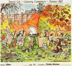 Here are October's Colouring Competition winners, ages 10 to First prize goes to Ullana, age 11 from Moscow! Cartoon Gifs, Animated Cartoons, Simons Cat, Cat Fun, Cat Colors, All Things Cute, Cool Cats, Moscow, Funny Cats