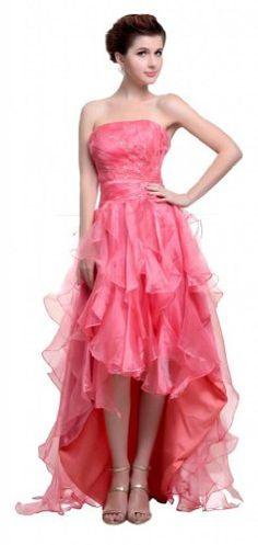 Orifashion Luscious Pink Strapless High Low Evening Dress WDSORJ109 $305.00