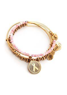 ALEX & ANI  Pink Ribbon Charm Bracelet Set of 3