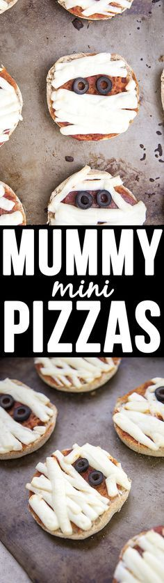 Mummy Mini Pizzas - Delicious and easy mummy mini pizzas start with an English muffin base, string cheese bandages and olives for eyes and make the perfect Halloween meal!