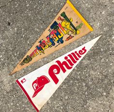 Vintage Pennants $15 each or $20 for both . . . #SesameStreet #Elmo #Cookie #thrift #Monster #bigbird #vintage #phillies #philly #pennant #display #sale #purchase #retro #flag #phl2x #bert #ernie #oscar #the #grouch #hypebeast #accessories