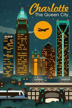 Charlotte, North Carolina - Retro Skyline - Lantern Press Poster
