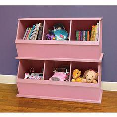 Badger Basket - Stackable Storage Cubbies, Pink    JUST like pottery barn!