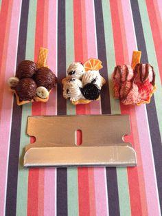 Miniature polymer clay ice cream sundaes! Handmade by: Ashley Tineo ~PolymerKitchen~