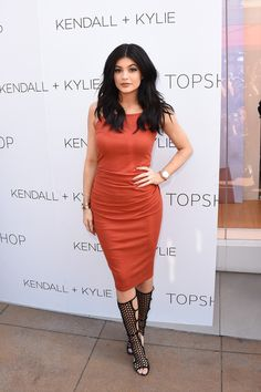 Kylie Jenner.. Topshop Square Neck Ribbed Maxi Dress, and Tamara Mellon High Scandal Black Suede Sandals..