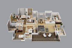 Planos para Apartamentos con 4 Habitaciones - #decoracion #homedecor #muebles