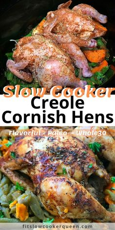 Creole seasoning is used on cornish hens in this simple slow cooker meal for two. This one-pot meal recipe is healthy and flavorful too. Cornish Hen Crock Pot Recipe, Cornish Hens Crockpot, Slow Cooker Cornish Hen, Paleo Crockpot Recipes, Slow Cooker Recipes, Chicken Recipes, Cajun Recipes, Meal Recipes, Dinner Recipes