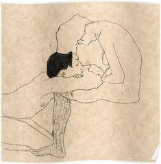 "Egon Schiele ""lovers"" Graphic Hoodie by Alexandra_arts - Unisex Zip Tri Blue - LARGE - Front Print - Zip Life Drawing, Figure Drawing, Painting & Drawing, Gustav Klimt, Best Artist, Erotic Art, Figurative Art, Framed Art Prints, Art Inspo"