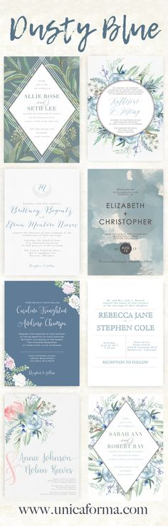 Dusty blue wedding invitations. Slate blue wedding invitations. Calligraphy wedding invitations. Watercolor wedding invitations. Floral wedding invitations. Modern wedding invitations. Simple wedding invitations. Eucalyptus wedding. Outdoor wedding. Rustic wedding. Summer wedding. Invitations by Unica Forma