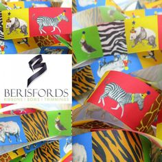 Release your wild party animal with this brightly coloured ribbon from Berisfords Featuring a Rhino Panda Zebra Toucan and Puffin wearing party hats Bright Colors, Colours, Ribbon Bows, Ribbons, Animal Party, How To Make Bows, Party Hats, Decor Crafts, Panda