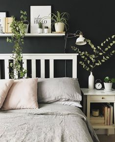 Our dove grey bedding has found a wonderful new home with These leafy details and blush cushions have us dreaming of spring 🌿 Navy Bedroom Walls, Bedroom Inspo Grey, Bedroom Design Inspiration, White Bedroom Furniture, Grey Furniture, Bedroom Green, Home Decor Bedroom, Dove Grey Bedroom, Ikea Bedroom