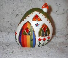 Fairy House Painted River Rock (front) by Sweet2Spicy, via Flickr    This one is absolutely gorgeous.