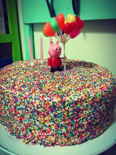 Peppa Pig Sprinkle Cake for my daughters 3rd Birthday