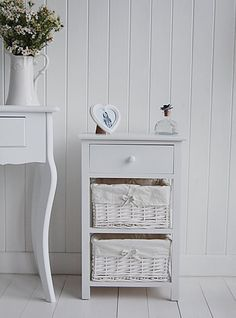 The White Cottage bedside tables range of sizes and styles for