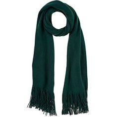 Barneys New York Women's Knit Scarf (190 BRL) ❤ liked on Polyvore featuring accessories, scarves, dark green, barneys new york, knit shawl, fringe scarves, fringe shawl and knit scarves