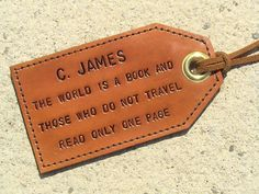Intage Library Bookshelf Leather Luggage Tags Personalized Extra Address Cards With Privacy Flap