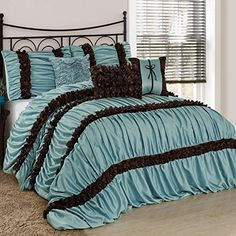 Fashion Street Caralina 7 Piece Pleated Comforter Set Queen Baby Blue -- Read more reviews of the product by visiting the link on the image from Amazon.com