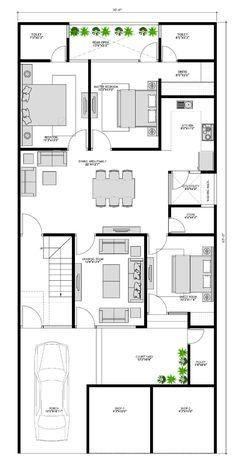 House Layout Plans, House Layouts, House Floor Plans, Floor Design, House Design, 3 Bedroom Floor Plan, Small Villa, Indian House Plans, Architectural Floor Plans