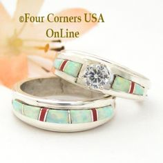 Size 8 White Fire Opal And Coral Engagement Bridal Wedding Ring Set Native American Wilbert Muskett Jr WS 1633 Closeout Final