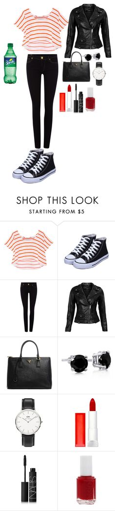 """black and red"" by lila-flora ❤ liked on Polyvore featuring Rebecca Minkoff, True Religion, VIPARO, Prada, Daniel Wellington, Maybelline, NARS Cosmetics and Essie"