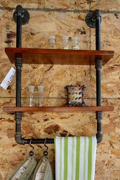 Plumbing pipe spice rack and towel bar is a great addition to any kitchen. This space saving shelving unit allows to visible display spices, towels, . Kitchen Shelf Unit, Bathroom Shelving Unit, Industrial Shelving, Industrial House, Industrial Lamps, Vintage Industrial, Plumbing Pipe Furniture, Industrial Furniture, Copper Furniture
