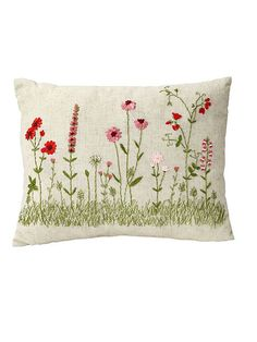 linen source Red/Pink 18 x 14'' Boudoir Decorative Pillow - <p> You'll be instantly captivated by the charming quality of dimensional satin-trim flowers with embroidered stems that stand out on a flaxen f