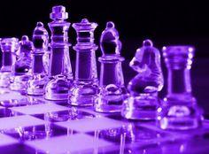 Beautiful purple glass chess set.